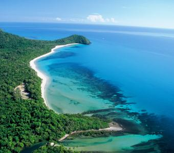 Aerial view of Cape Trib Campground